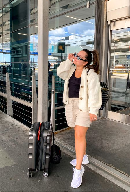 Airport outfit to Greece!! Linen shorts cream cardigan white new balance sneakers ysl medium Lou Lou    #LTKstyletip #LTKtravel #LTKunder50
