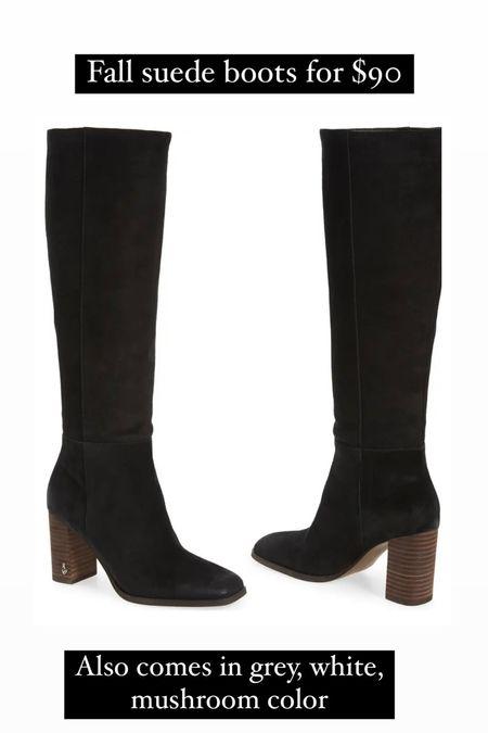 Fall boots under $100, black knee high boots. Suede boots, fall shoes   #LTKSeasonal #LTKshoecrush #LTKunder100