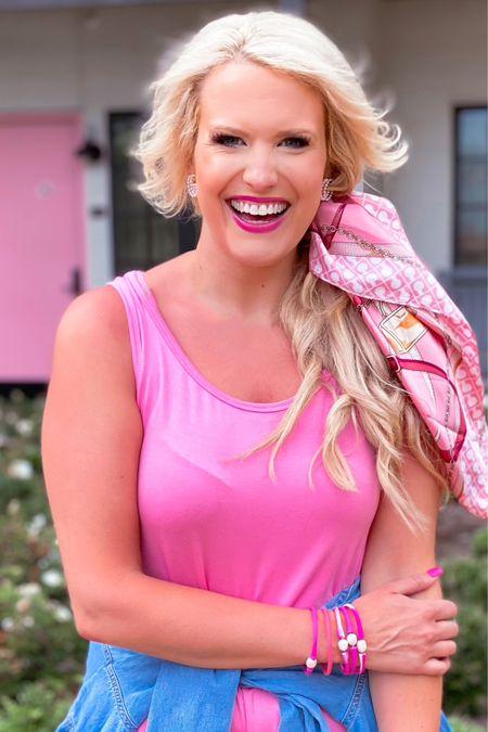 Pink lightweight amazon dress size M Pink hair scarf  Chambray button drop too styled around the waist  Amazon earrings   http://liketk.it/3hzzk #liketkit @liketoknow.it #LTKunder50 #LTKstyletip #LTKbeauty