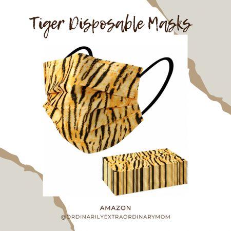 Geaux Tigers - tiger print disposable masks for under $10  #LTKunder100 #LTKworkwear #LTKbeauty