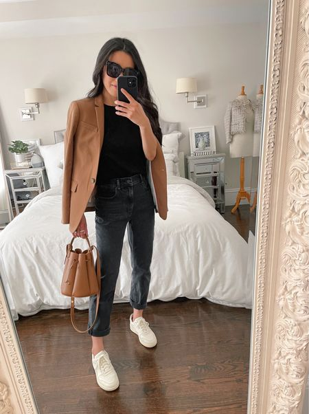 casual blazer + sneakers outfit // how to style straight leg jeans for a petite frame  •J.Crew blazer 00 petite (similar for less also linked!) •Everlane boxy tee xs •Everlane cheeky jeans 24 •Everlane court sneakers 5 •Polene bag #8 (not linkable)   #LTKstyletip http://liketk.it/3knE7 #liketkit @liketoknow.it