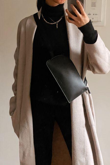 Winter look, winter fashion, sling bag, tiny cashmere, cashmere turtleneck, outfit, cardigan, coatigan, affordable amazon everlane   #LTKstyletip #LTKVDay #LTKunder100
