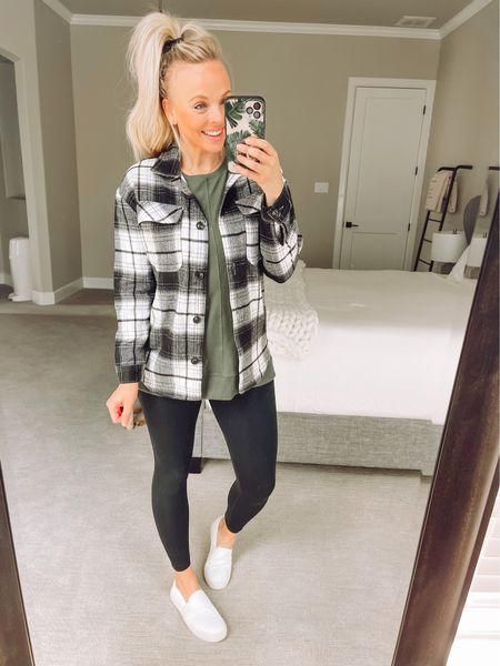 Size up in the shacket! Tunic is TTS. Fall outfit, fall fashion, walmart fashion, walmart style   #LTKunder50 #LTKstyletip #LTKSeasonal