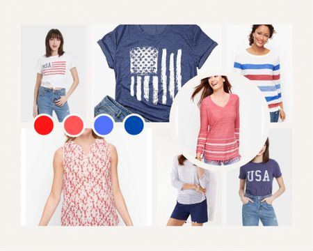 The best shirts for 4th of July and Summer Olympics watch parties! Show for patriotic spirit! You can instantly shop all of my looks by following me on the LIKEtoKNOW.it shopping app http://liketk.it/3iA6a #liketkit @liketoknow.it #LTKstyletip #LTKseasonal
