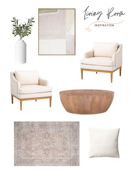 This living room decor is giving me all the vibes. Natural, modern and organic. The coffee table, accent chair, area rug, throw pillow, vase, and wall art definitely all fit together beautifully! Shop this living room look for directly!   #LTKstyletip #LTKfamily #LTKhome
