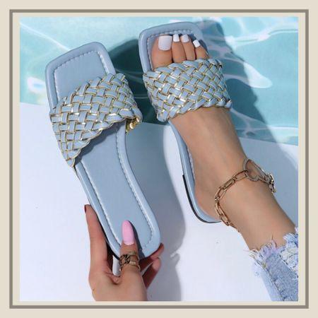 Braided design slide sandals   #LTKunder50 #LTKstyletip #LTKshoecrush