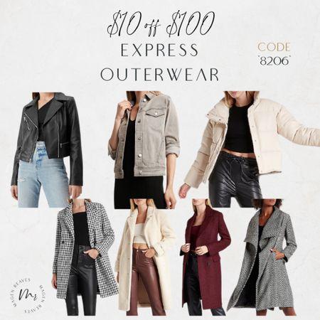 Express Outerwear $10 off $100 code 8206 http://liketk.it/3oaP1 @liketoknow.it #liketkit #LTKunder100 #LTKunder50 #LTKSale #LTKsalealert