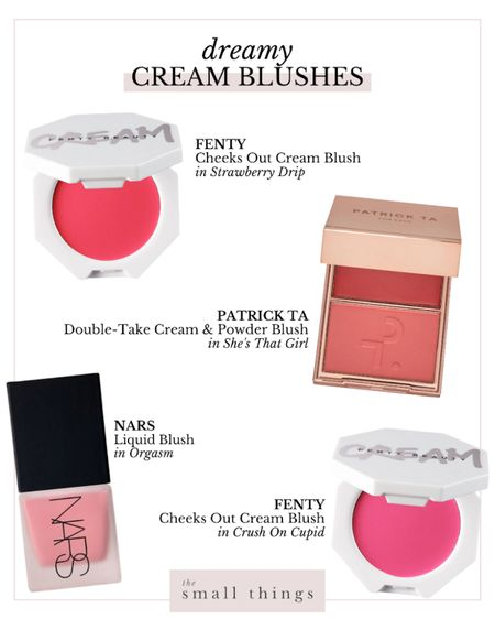 Cream blush is so easy to apply! Bright blush, pink, coral, powder and cream  #LTKbeauty