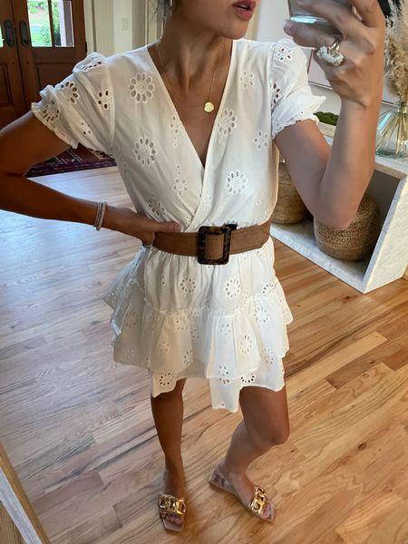Chain sandals and little white dress under $90 @liketoknow.it #liketkit http://liketk.it/3hNl4 #LTKunder100