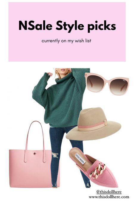 #nsale #nordstrom #sale #anniversarysale #chunkysweater #oversizedsweater #hat #stevemadden #chunkymule #pink #quaysunglasses #katespade   #LTKstyletip #LTKSeasonal #LTKsalealert