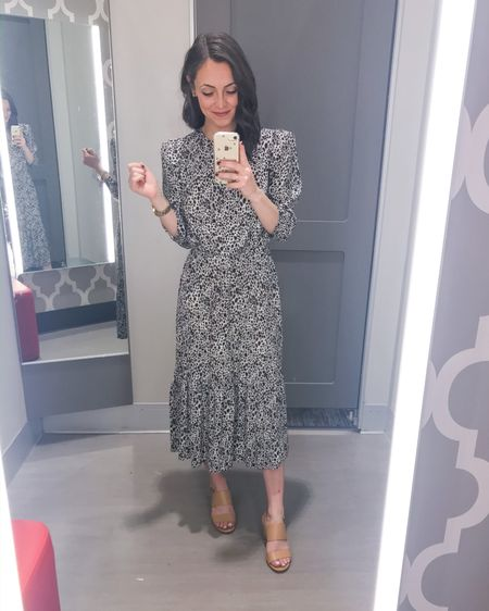This printed tiered midi dress is so perfect for spring! Great for the office or a bridal/baby shower. It comes in this fun animal print and also white pattern, orange pattern, and green pattern. It has an elastic winched waist and you could easily add a belt. I love the slight puff shoulder detail too! Runs TTS and just $28.  Dress: XS Heels: 6   http://liketk.it/2L29K  #liketkit @liketoknow.it #LTKspring #LTKunder50 #LTKworkwear