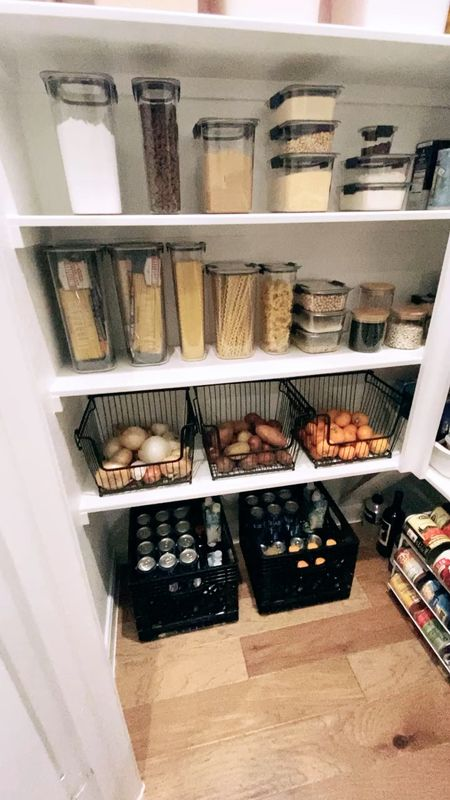Pantry organization- the items we used from Amazon and The Container store to organize our pantry!    Having an organized pantry is so helpful - I enjoy going into the pantry now and can find things SO much quicker!           Pantry organization, pantry organizers, pantry decor, home decor, baskets, storage baskets, amazon finds, amazon home, the container store, Rubbermaid, pantry storage, home organization, home decor, #ltkunder100 , kitchen decor, #ltkstyletip  #LTKfamily #LTKunder50 #LTKhome