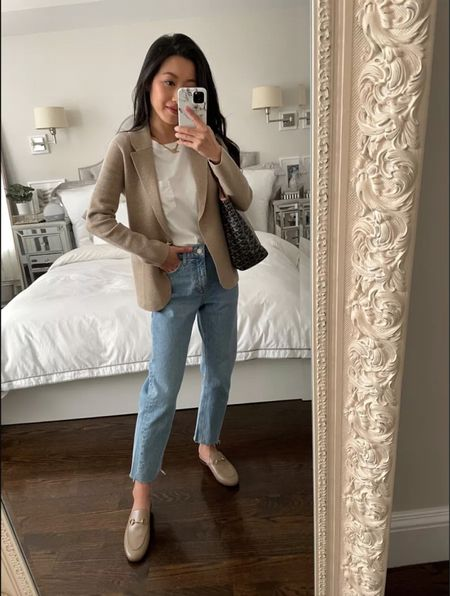 """Sale alert: Topshop petite friendly straight leg jeans & this J.Crew sweater blazer!   •Straight leg Topshop jeans size 25 (FYI I tried both petite and regular and both fit exactly the same in this style so you can go with either if petite!). I wear 24 in most other denim brands and go 1 size up in Topshop high waist styles.   •J.Crew Camille sweater blazer size xxs regular - it's very petite friendly. Note the button has weight to it so hangs a bit.   •Everlane box cut tee xs (sized up for a casual fit),   •Etsy 15"""" necklace  •Gucci Princetown mules 35.5  Also linked the J.Crew Sophie blazer which I also love and is currently on sale!  #LTKsalealert #LTKSeasonal #LTKstyletip"""