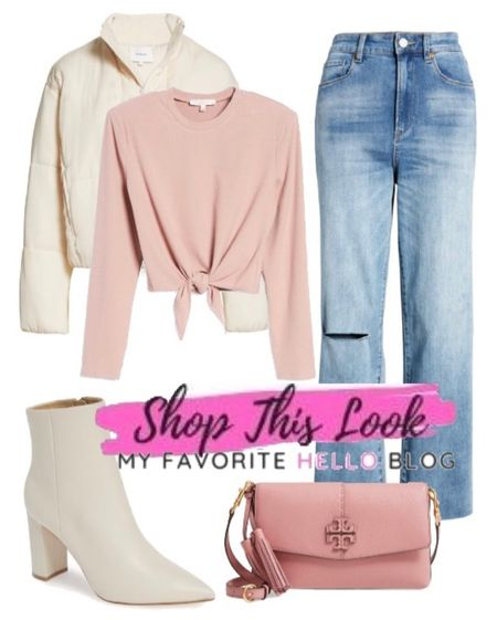 Back to school outfit with jeans, white boots, cropped puffer jacket and pink purse from Nordstrom sale. #backtoschool #whiteboots  #LTKshoecrush #LTKunder100 #LTKstyletip