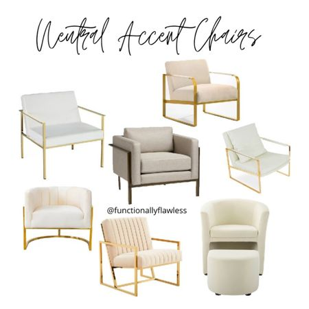 Modern Neutral accent chairs. Cream accent chair. White and brass armchair. Living room chairs. Bedroom chairs. Gold and cream statement chairs. Metal beige bronze armchair. Velvet chair with ottoman. White leather chair  #LTKstyletip #LTKhome
