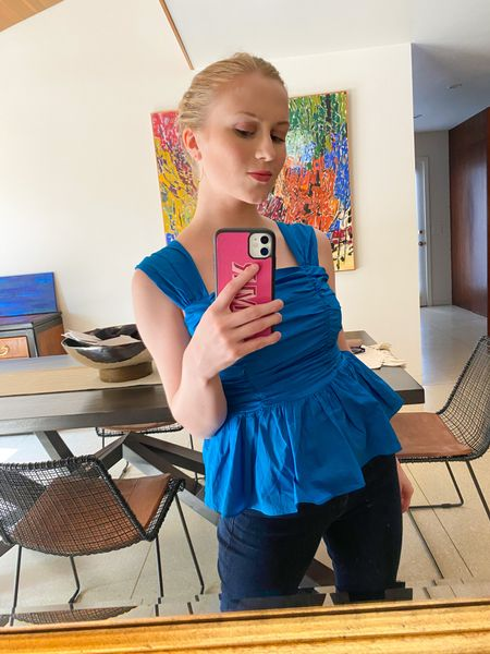 I am in love with this marine blue peplum blouse from Express! A lovely top for summer whether you are going out for a casual bite or an occasion! #express #blouse  #LTKfit #LTKunder100