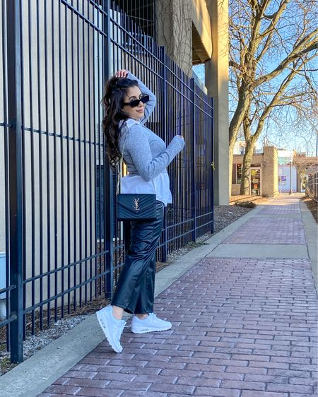 Make it casual but chic🖤💋 Black faux leather pants, white oversized shirt, gray crop top, white sneakers, Nike sneakers, casual look, spring look, Mother's Day. http://liketk.it/3dS2O #liketkit #LTKworkwear #LTKunder50 #LTKstyletip @liketoknow.it @liketoknow.it.europe