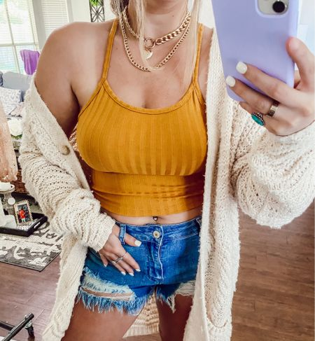 Amazon vacation outfit, vacation outfits, vacation style, affordable vacation outfits, amazon travel outfit, amazon beach outfits, yellow top, crop top, yellow crop top, yellow halter top, cable knit sweater, summer outfit, spring outfit, summer nights, beach outfit