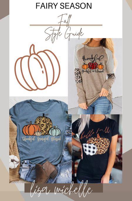 Fall tees! Pumpkin T-shirts! #falltshirts #falltops #pumpkintshirts #leopard #ltkfall #liketoknowit  #LTKunder50