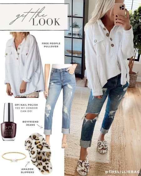 Get the Look: Casual fall outfit. Free People pullover. Leopard slippers from Amazon. Aubergine nail polish.   #LTKSeasonal #LTKunder100 #LTKstyletip