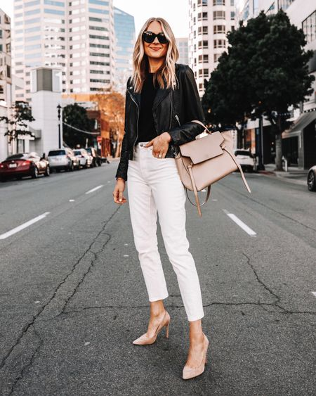 How to wear white after Labor Day! Pair with a black leather jacket and nude pumps for an stylish look!   #LTKunder50 #LTKunder100 #LTKstyletip