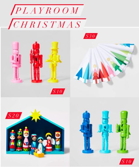 These Christmas decorations are timeless and so fun for a playroom or to decorate a tabletop! I can imagine these nutcrackers as fun place card holders for a Christmas dinner.    #LTKhome #LTKHoliday