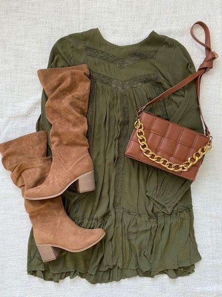 Scoop Women's Blouson Sleeve Dress  Time and Tru Women's Tail Slouch boots Scoop woven crossbody bag   Walmart fashion Walmart look Fall look Fall dress Green dress Teacher look Workwear   #LTKunder50 #LTKSeasonal #LTKshoecrush