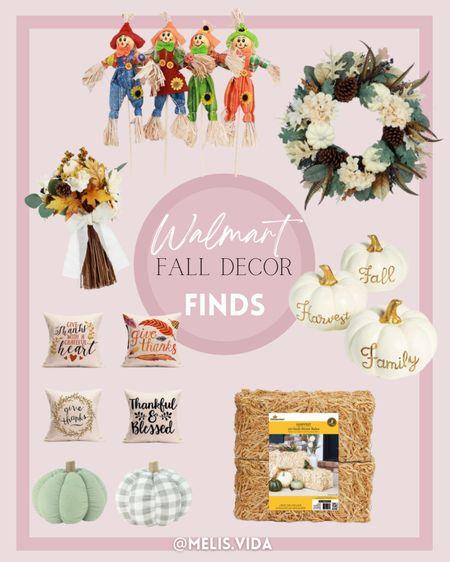 Walmart Fall Decor Finds Pumpkins | fall home decor | Walmart deals | wreath | fall wreath | pumpkin decor | fall flowers | fall centre piece | hay | front porch decor | front porch fall decor | fall season | fall pillows | #melisvida #ltkgiftguide #ltkbrasil #ltkeurope #ltkfamily #ltksalealert #ltkunder50 #ltkunder100  #LTKSeasonal #LTKhome #LTKHoliday
