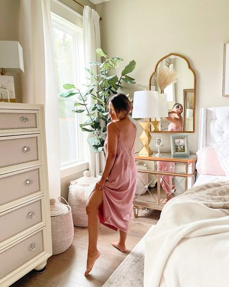This satin nightgown from @SomaIntimates is so glam and luxurious and comes in a few other styles too! I love the color and the fit! I'm wearing a sz small!  #somastartswithme #nightgown #pajamas #soma   #LTKhome #LTKstyletip #LTKunder100