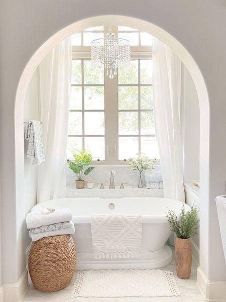 Coastal bathroom design. White and natural with green. Freestanding tub design .bathroom design.   #bathroom #homedecor  #LTKhome #LTKunder50 #LTKstyletip