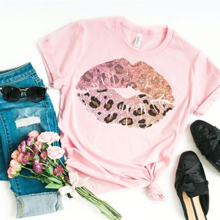 Leopard print lips pink tee http://liketk.it/2R3xl #liketkit @liketoknow.it #LTKsalealert #LTKstyletip #LTKspring