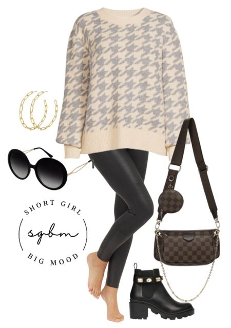 Gifting idea for the fashion lover in your life! Fall outfit inspiration; houndstooth sweater, checkered crossbody, crystal boots  #LTKworkwear #LTKunder50 #LTKGiftGuide