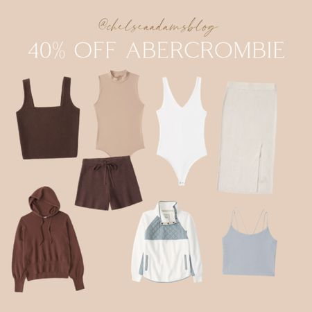 Labor day sale Abercrombie has some AMAZING deals on basics, layering pieces, athleisure brown outfit 2021 labor day sale ribbed skirt Fall outfits Early fall neutral outfit White bodysuit Seamless bodysuit Matching set Nude bodysuit  #LTKsalealert #LTKunder50 #LTKunder100