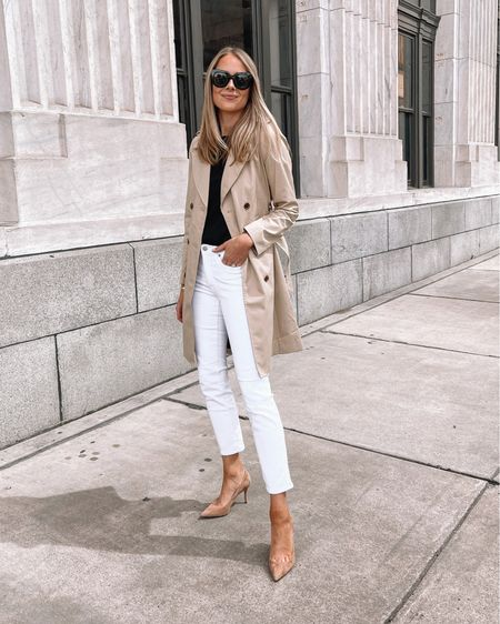 How to wear white jeans after Labor Day. Pair with a trench coat and pumps for a classic fall outfit idea   #LTKstyletip #LTKunder50 #LTKunder100