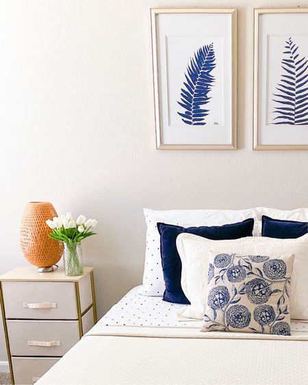Guest bedroom decor          Guest bedroom , bedroom decor , amazon home , amazon finds ,Wayfair , side table , night stand , pillows , wall art #ltkunder100  #LTKhome #LTKunder50 #LTKstyletip