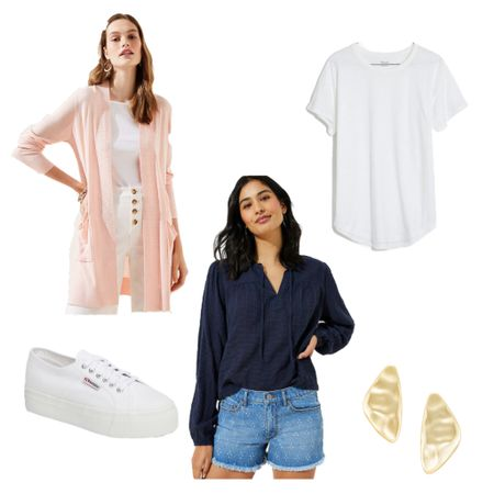 Easy everyday outfit with denim shorts and a cardigan! @liketoknow.it #liketkit http://liketk.it/2OPNI #LTKspring #LTKunder100 #LTKunder50   Spring outfit idea, spring style, loft cardigan