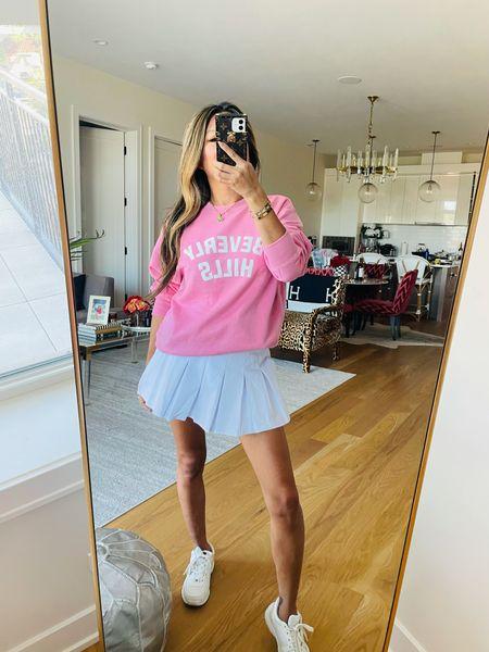 Tennis outfit, casual sweatshirt outfit, Beverly Hills sweatshirt 💖  #LTKunder100 #LTKtravel #LTKSeasonal