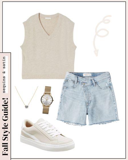 Early fall outfit idea! #falloutfits #fallfashion #sweatervest #sneakers #shorts #targetstyle #hm #abercrombie #amazonfashion   #LTKstyletip #LTKunder50 #LTKshoecrush