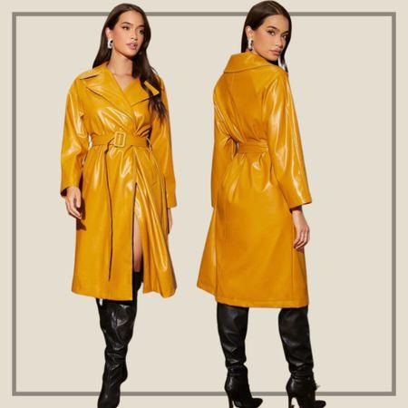 Raglan sleeve buckled belted coat  #LTKunder50 #LTKstyletip