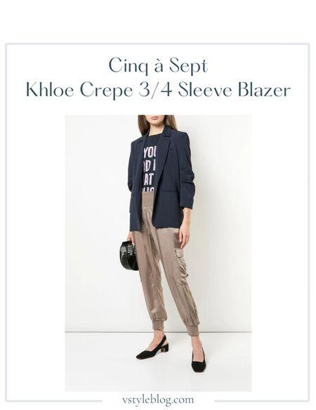 Fall outfits, Work wear, Teacher outfits, Back to school, Blazer looks, Navy blazer, Sale alert  Cinq à Sept Khloe Crepe 3/4 Ruched Sleeve Blazer @ Saks Fifth Avenue (was $395, now $177.75 - $395) @ Shopbop ($395) @ Farfetch ($395) @ Amazon ($232.38 - $395)  #LTKsalealert #LTKfit #LTKworkwear