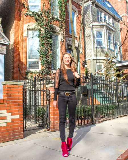 """""""Never let the fear of striking out keep you from playing the game."""" - Babe Ruth Feeling this quote vibe on this Wednesday!  How pretty are these Chicago houses? I love the buildings in the city's neighborhoods, they are all so unique.  Wearing this fun mesh sleeve top and pink velvet booties for a pop of color! 💕 You can shop my look two ways: 📸 Download the LIKEtoKNOW.it app to shop this pic via screenshot 🛍 Follow me on the LIKEtoKNOW.it app to get the product details! http://liketk.it/2JXKz #liketkit @liketoknow.it #LTKunder100 #LTKunder50 #LTKstyletip"""