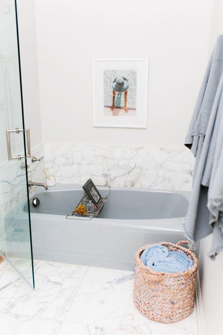 Master bathroom inspo! White marble, vintage tub, grey details #ad   http://liketk.it/38S6m #liketkit @liketoknow.it   #LTKhome
