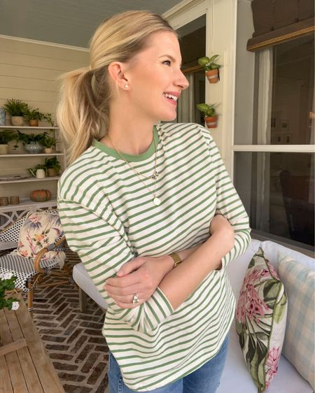 Green striped oversized shirt   #LTKunder100