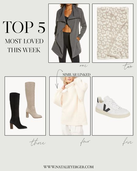 This week's reader favorites! See below for details:  1. Zella Wrap Jacket—Constantly going in and out of stock in this color & heather ivory, so keep your eyes peeled for your size!  2. Barefoot Dreams Blanket—Comes in 10+ colors. I linked my two favorites.  3. Olly Knee High Boots—I have the black in my normal size.  4. Free People Sweater—This sweater sold out in all three colors, but I linked two similar options by Free People.  5. Veja V10 Sneakers—Available in multiple colors! You can read my Veja review at https://nyblog.me/veja  Have a wonderful week!