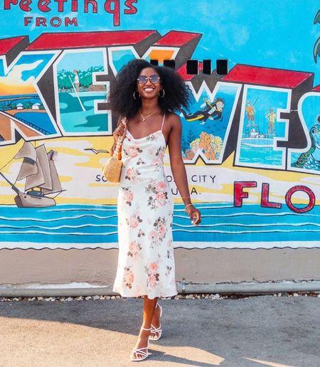 Abercrombie summer dress with white strappy heels   #LTKunder50 #LTKstyletip #LTKtravel