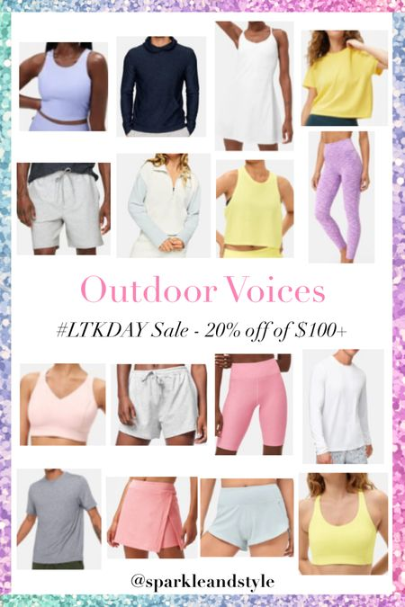 LTK Day Sale: Outdoor Voices - 20% off $100+    http://liketk.it/3hqBj @liketoknow.it #liketkit #LTKDay #LTKfit #LTKsalealert   Workout wear, workout clothes, fitness clothes, workout leggings, workout shorts, workout tops, sports bras, workout skirt, tennis skirt, workout dress, tennis dress, sweatshirt, workout tank top