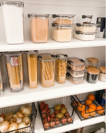 Pantry organization- the items we used from Amazon and The Container store to organize our pantry!    Having an organized pantry is so helpful - I enjoy going into the pantry now and can find things SO much quicker!           Pantry organization, pantry organizers, pantry decor, home decor, baskets, storage baskets, amazon finds, amazon home, the container store, Rubbermaid, pantry storage, home organization, home decor, kitchen decor, #ltkstyletip  #LTKunder50 #LTKstyletip #LTKhome