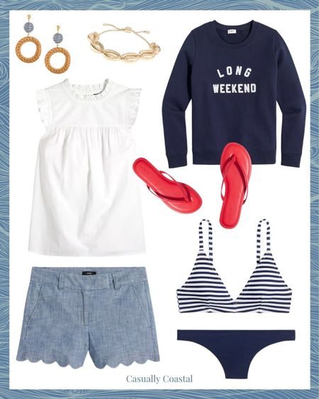 """Anyone else counting the days until Memorial Day weekend? Love this outfit for both Memorial Day and the 4th of July, which will also be here before you know it! Everything here is on major sale - the bathing suit is under $35, sweatshirt which is perfect for nighttime bonfies is $22.50, these adorable scalloped shorts (a reader fave!) are $29.50, top is $34.50 and flip flops are just $14.50! On top of these sale prices, take an extra 15% off $100+ with code NEW4SUMMER!  #liketkit #LTKunder50 #LTKswim @liketoknow.it http://liketk.it/3fCI1 #LTKsalealert  jcrew factory, j.crew, beach vacation outfits, summer fashion, resort style, resort wear, beach style, memorial day outfits, memorial day outfit shorts, memorial day shorts, memorial day tops, memorial day bathing suits, outfits for 4th of july women, 4th of july outfit, 4th of july swimsuits, preppy style, scallop shorts, chambray shorts, jcrew shorts, 4"""" shorts, 4 inch shorts, mom shorts, shorts for moms, j.crew spring, j.crew summer, white ruffle top, flip flops, jcrew sandals, white sleeveless top, white sleeveless blouse, drop earrings, statement earrings, summer accessories, summer accessories jewelry, summer earrings, rattan earrings, raffia earrings, summer bracelets, gold bracelets, red flip flops, red sandals, striped swimsuit, striped bathing suits, blue and white swimsuit, blue and white bathing suit, blue and white striped swimsuit, jcrew swimsuit, j.crew swimsuit, striped swimsuit, striped bathing suits, blue and white swimsuit, blue and white bathing suit, blue and white striped swimsuit, blue and white bikini, striped two piece set, striped two piece, striped two piece swimsuit, summer sweatshirt, navy sweatshirt"""