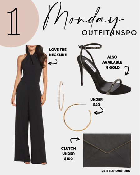 Monday Outfit Inspiration - Wedding Guest Outfit, Fall Formal Outfit Inspiration, Fall Jumpsuit, Formal Accessories, Wedding Accessories   #LTKworkwear #LTKwedding #LTKstyletip