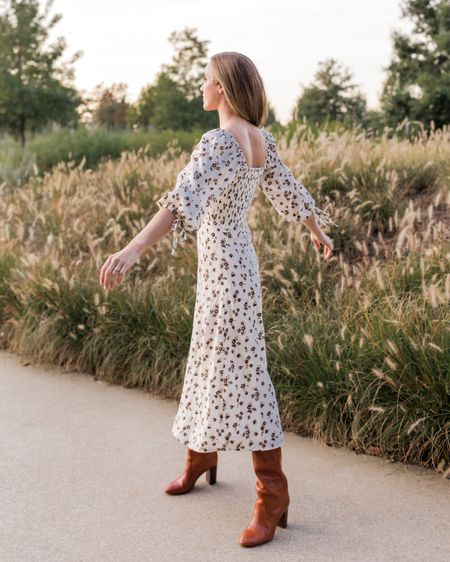 Still so in love with this fall dress. Wearing size S. I linked several other floral dresses that would work well for fall family photos, date night, or the weekend. Boot are TTS, two similar pairs I'm loving this season for about half the price are linked.